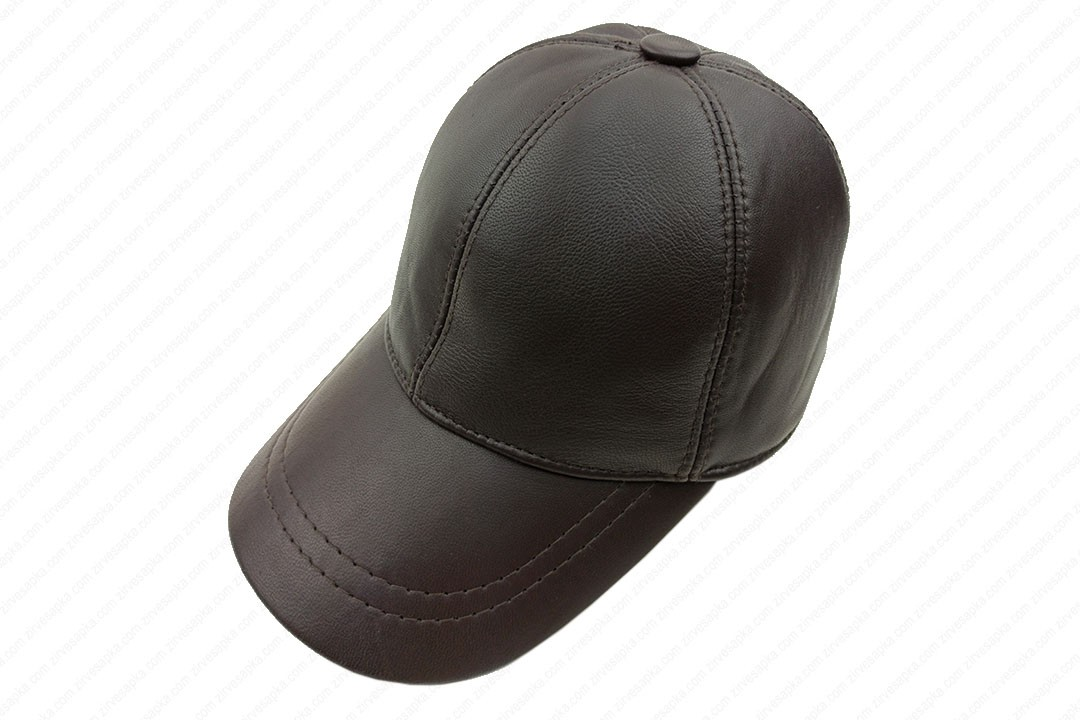 Deri Şapka - Kahverengi - Deri1002