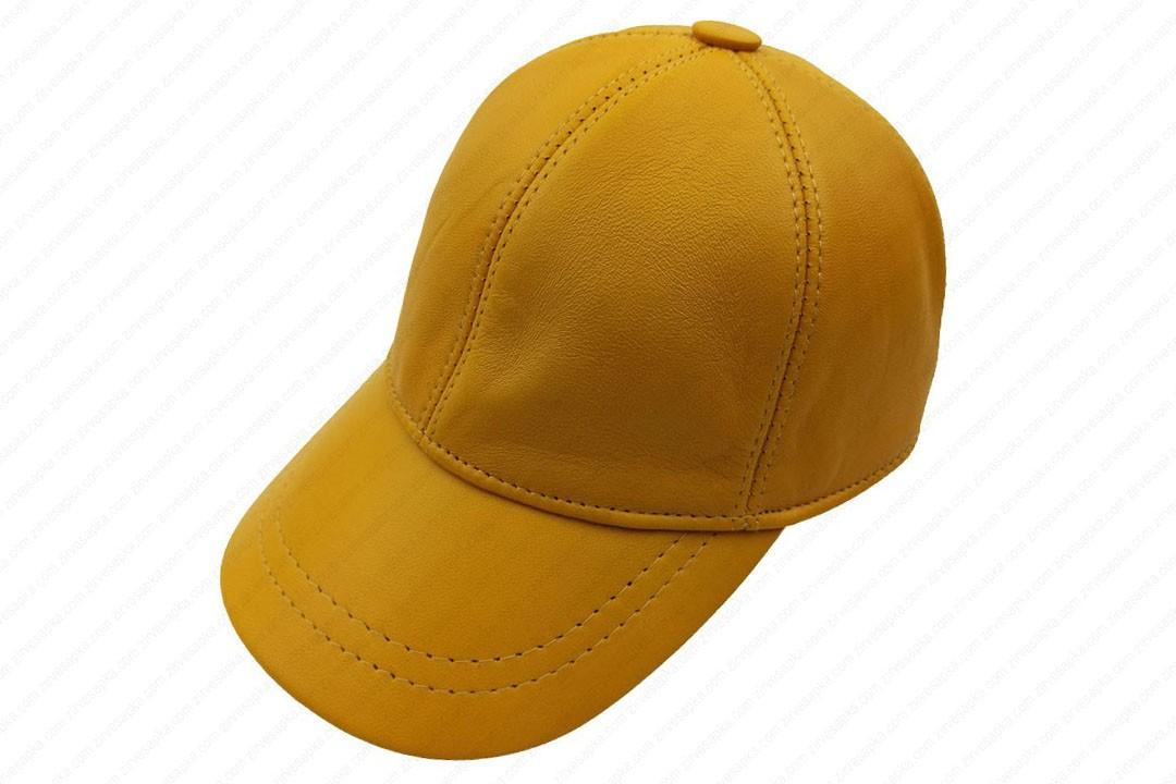 Deri Şapka - Sarı - Deri1006